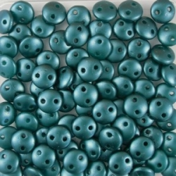 #50 - 50 Stück Two-Hole Lentils 6mm - Met. Pearl Coat Dk Green