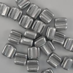 #01 - 25 Stck. H-Tile Beads 6mm - crystal aluminium silver