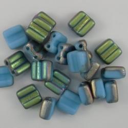 #09 - 25 Stck. H-Tile Beads 6mm - opak blue matte vitrail
