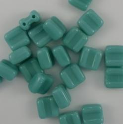 #10 - 25 Stck. H-Tile Beads 6mm - opak green turquoise
