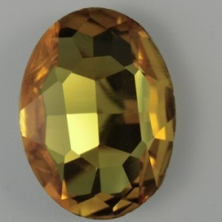 1 Glas-Oval Ø 30x20x8 mm - dk citrin