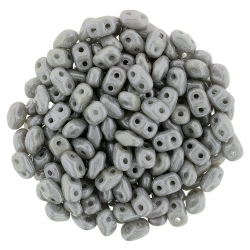 #02.03 - 10g MiniDuo-Beads  Opak Chalk White Grey Luster