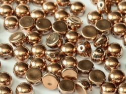 #22 25 Stck. 2-Hole Cabochon 6mm Crystal Capri Gold Full