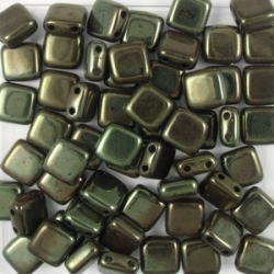 50 Stück Two-Hole Flat Square 6mm - Jet Lusterd Green