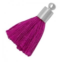 5 Stück Mini-Perlen-Quasten (ca. 2,4cm)  Ibiza Style - silberne Endkappe mit Öse - med fuchsia purple