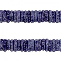#04 - 10 Stck. Griechische Keramik ca. 8x2,2 mm - stonewash - indigo blue