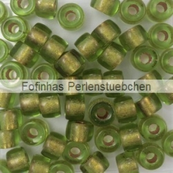 #07.02 - 25 Stück Roller Beads 6x4 mm - olivine copper lined