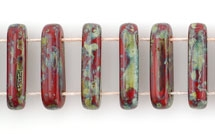 1 Strang 2-Hole Bar 15x5mm - Opaque Red Picasso