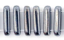 1 Strang 2-Hole Bar 15x5mm - Jet Hematite