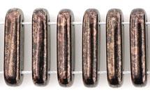 1 Strang 2-Hole Bar 15x5mm - Jet Marbled dk Bronze