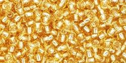 10 g TOHO Seed Beads 11/0 TR-11-0022 Silver-Lined Lt Topaz (A,D)