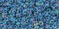 10 g TOHO Seed Beads 11/0 TR-11-0188 - Inside-Color Luster Crystal/Capri Blue-Lined (E)