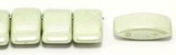 #02.01 - 10 Stück Zweiloch-Glasperle 9x17 mm - Chalk White Olivine Coating