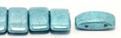 #02.02 - 10 Stück Zweiloch-Glasperle 9x17 mm - Chalk White Blue Luster