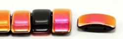 #03.03 - 10 Stück Zweiloch-Glasperle 9x17 mm - Jet Half Pink-Capri Gold Luster