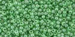 10 g TOHO Seed Beads 11/0 TR-11-0343 - Inside-Color Crystal/Apple Green (E)