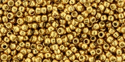10 g TOHO Seed Beads 11/0 TR-11-PF591 - Permanent Finish - Galvanized Golden Mustard (Old Gold) (A,C,D)