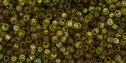 10 g TOHO Seed Beads 11/0 TR-11-Y315F - HYBRID Tr. Frosted Lime Green - Picasso