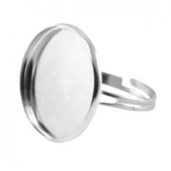 1 Fingerring aus Metall für Cabochon 20 mm - nickelfarben