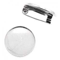1 Brosche aus Metall für Cabochon 20 mm - nickelfarben