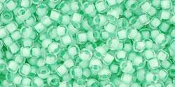 10 g TOHO Seed Beads 11/0 TR-11-0975 - Inside-Color Crystal/Neon Sea Foam-Lined (E)