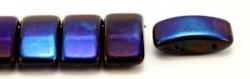 #03.05 - 10 Stück Zweiloch-Glasperle 9x17 mm - Jet Azuro