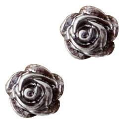 #34a - 5 Stück Resin Rose Beads ca. 6 mm - dk brown - silber coated