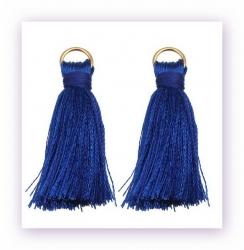 1 Stück Mini-Perlen-Quaste (ca. 3,6cm)  Ibiza Style - mit Öse - cobalt