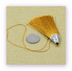 1 Stück Textil-Quaste (ca. 8,0cm) - mit antik silber Endkappe und Faden - gold