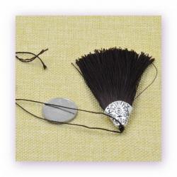 1 Stück Textil-Quaste (ca. 8,0cm) - mit antik silber Endkappe und Faden - deep brown