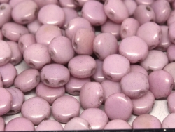 #05.03 - 25 Stück DiscDuo Beads 6x4 mm - White Lila Luster