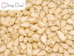 #02.01 - 25 Stück DropDuo Beads 3x6 mm - Chalk White Champagne Luster