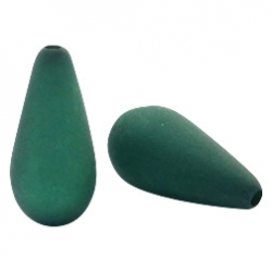#09.03 - 1 Stück Polaris-Elements Perlen Tropfen - Ø 20x10 mm - matt dk classic green