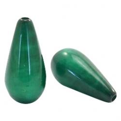 #09.02 - 1 Stück Polaris-Elements Perlen Tropfen Mosso - Ø 20x10 mm - shiny dk classic green