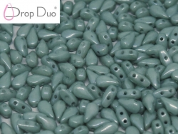 #02.04 - 25 Stück DropDuo Beads 3x6 mm - Chalk White Teal Luster