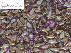 #01.10.01 - 25 Stück DropDuo Beads 3x6 mm - Crystal Copper Rainbow