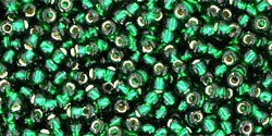 10 g TOHO Seed Beads 11/0 TR-11-0036 - Silver-Lined Emerald (A,D)