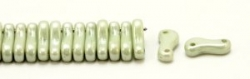 #00.00 - 50 Stück Link Beads 3x10 mm - Chalk White Olivine Coating