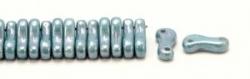 #00.00 - 50 Stück Link Beads 3x10 mm - Chalk White Blue Luster