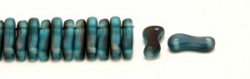 #00.00 - 50 Stück Link Beads 3x10 mm - Blue Turquoise Transparent Azuro Matte