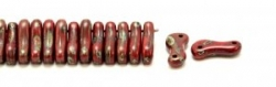 #00.00 - 50 Stück Link Beads 3x10 mm - Red Opaque Dk Travertin