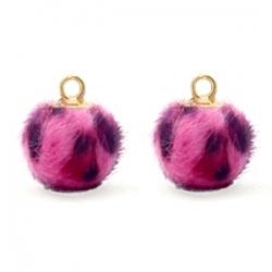 1 Stück Faux Fur PomPom - Leopard Neon Pink (Gold)