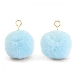 1 Stück Woll PomPom - Sky Blue (Gold-Öse)