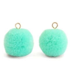 1 Stück Woll PomPom - Mint Green (Gold-Öse)
