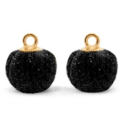 1 Stück Glitter Mesh PomPom - Black (Gold)