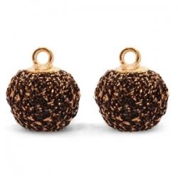 1 Stück Glitter Mesh PomPom - Dk Brown Bronze (Gold)