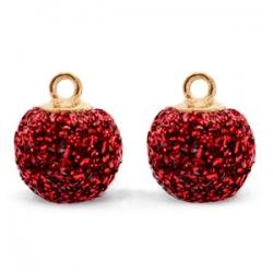 1 Stück Glitter Mesh PomPom - Dk Red (Gold)