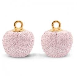 1 Stück Glitter Mesh PomPom - Lt Pink (Gold)
