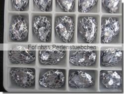 1 Glas-Tropfen Ø 18x13 mm Patina - lt tanzanite/silber