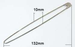1 Stück Kilt-/Sicherheis-/Maschenhalter-Nadel  132x10 mm aus Metall - nickelfarben